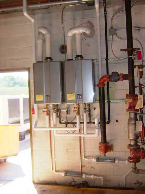 ... Unable To Meet Their Own Hot Water Needs Was Remedied By Installing 2  Rinnai Commercial Condensing Tankless Water Heaters With 120 Gallon Storage  Tank ...